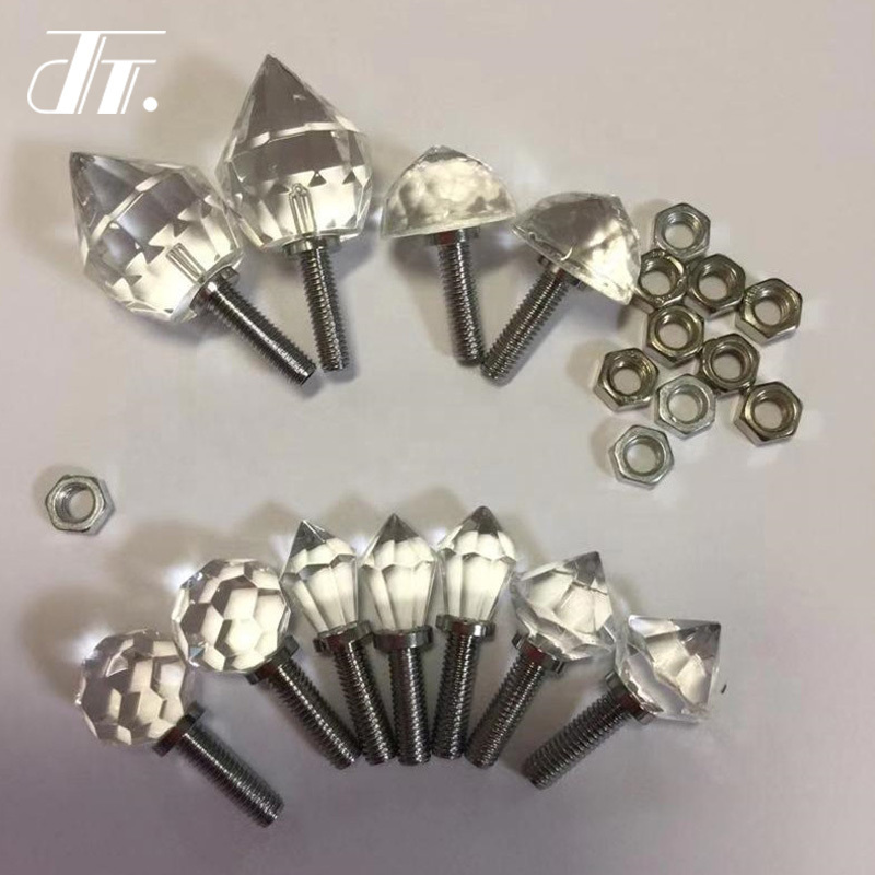 Fiber optic crystal glass end fitting for star ceiling