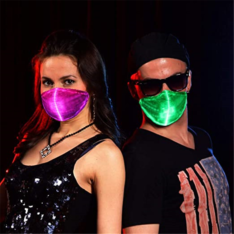 Rechargeable battery Rave Mask light up Led Optical Fiber Luminous Face Mask for Party
